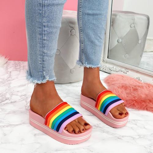 Jubby Pink Flatform Sandals