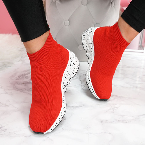 Hexya Red Sock Sneakers