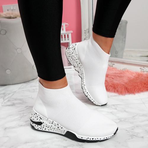 Hexya White Sock Sneakers