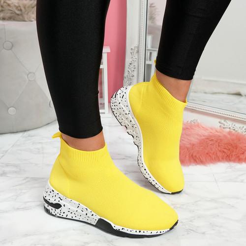 Hexya Yellow Sock Sneakers