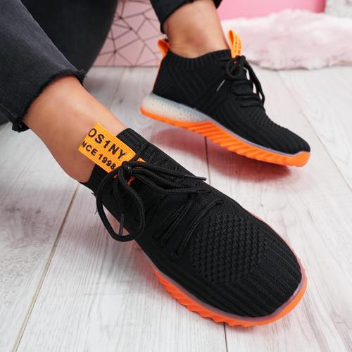 Seyna Black Orange Trainers