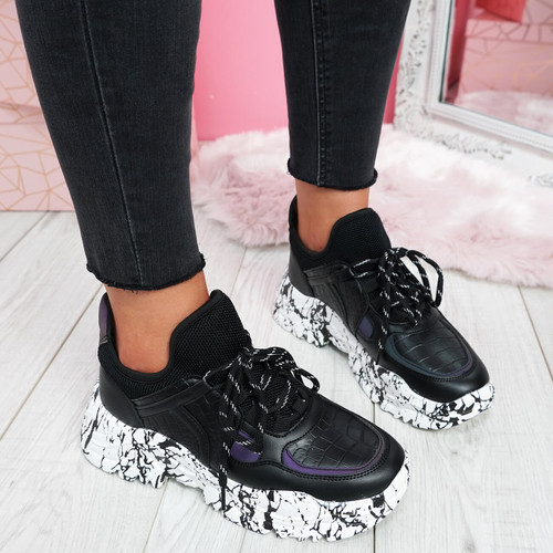 womens ladies lace up chunky trainers platform sneakers party sport women shoes size uk 3 4 5 6 7 8