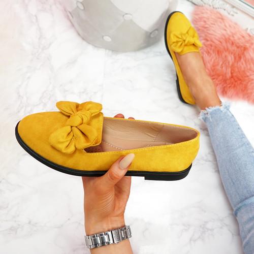 Onty Yellow Bow Ballerinas
