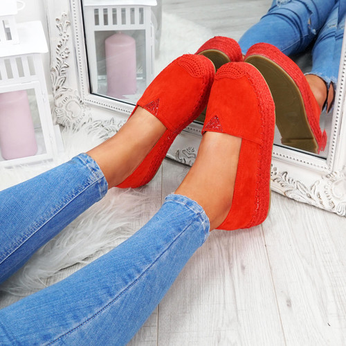 Yalla Red Studded Ballerinas