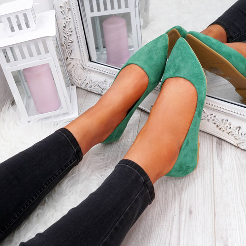 Esby Green Pointed Ballerinas