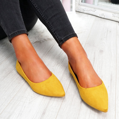 Esby Yellow Pointed Ballerinas