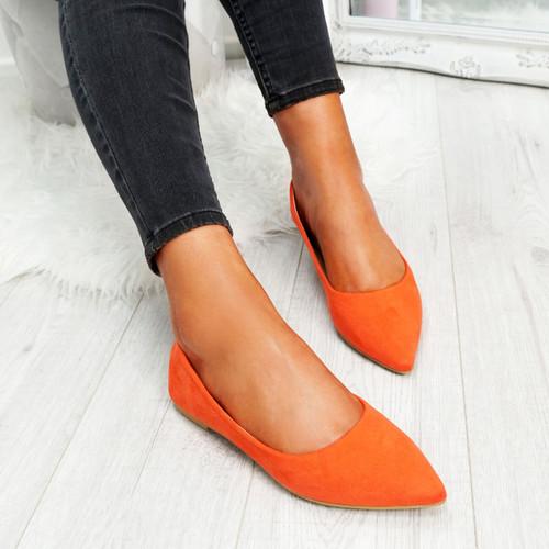 Esby Orange Pointed Ballerinas
