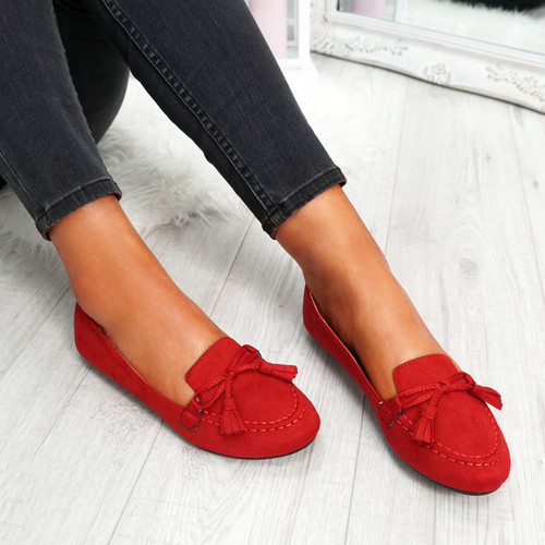 Somme Red Bow Ballerinas