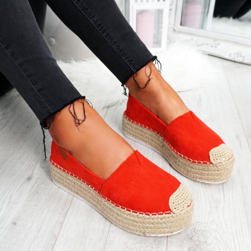 Uvya Red Espadrille Flatforms
