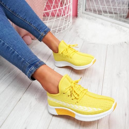 Benne Yellow Running Trainers