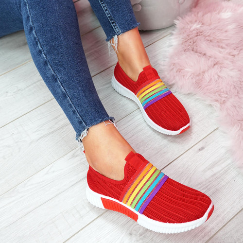 Eppa Red Knit Rainbow Trainers