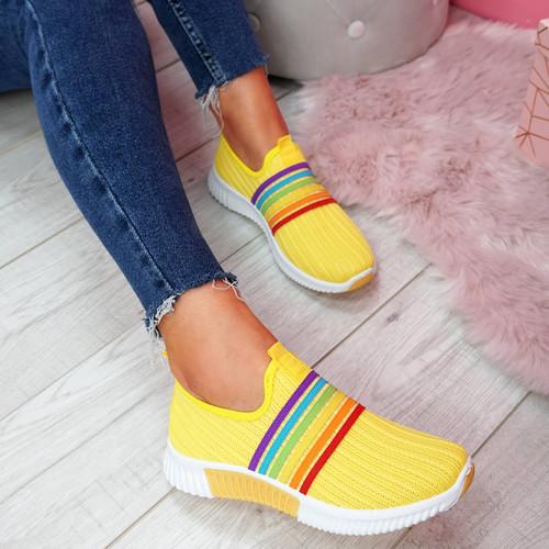Eppa Yellow Knit Rainbow Trainers