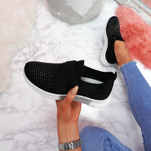 Giffe Black Knit Studded Trainers