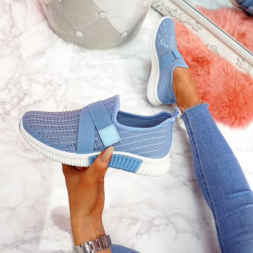 Giffe Blue Knit Studded Trainers
