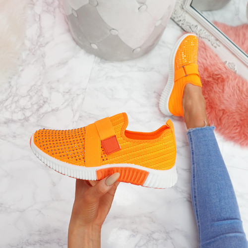 Giffe Orange Knit Studded Trainers