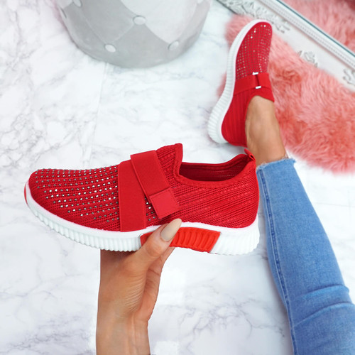 Giffe Red Knit Studded Trainers