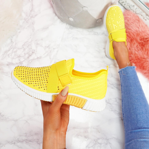 Giffe Yellow Knit Studded Trainers