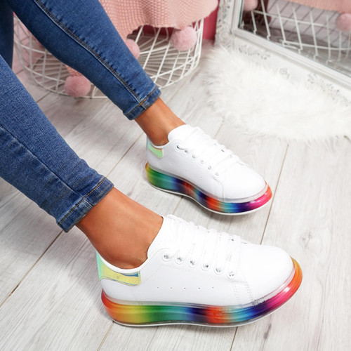 Denna Green Rainbow Sole Trainers
