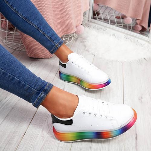 womens ladies lace up plimsolls rainbow sole platform trainers sneakers shoes size uk 3 4 5 6 7 8