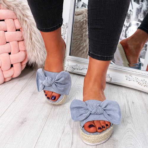 Seffy Blue Bow Flatform Sandals