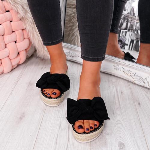 womens ladies flat bow sandals peep toe sliders casual women shoes size uk 3 4 5 6 7 8