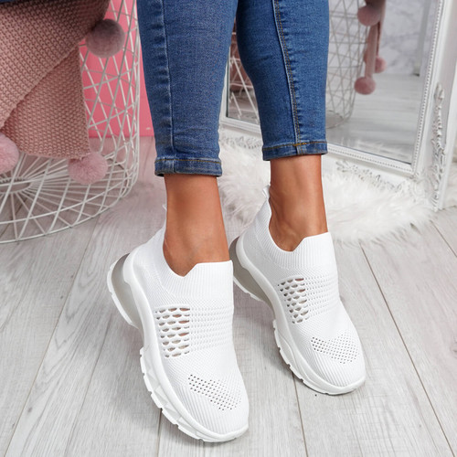 Jya White Slip On Chunky Trainers