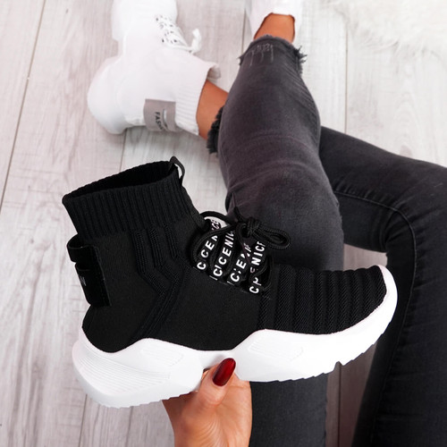 womens ladies lace up sock chunky party sneakers trainers casual comfy sport women shoes size uk 3 4 5 6 7 8