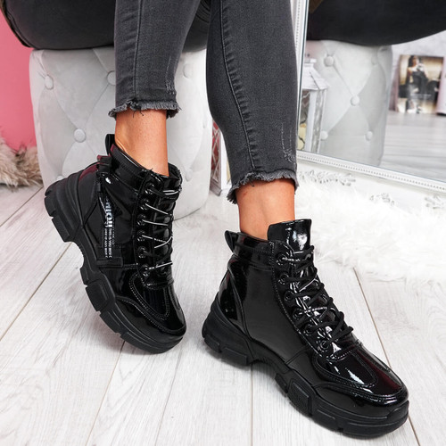 Zenna Black High Top Chunky Trainers
