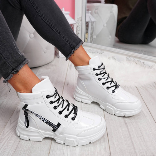 womens ladies high top lace up trainers sneakers sport shoes size uk 3 4 5 6 7 8