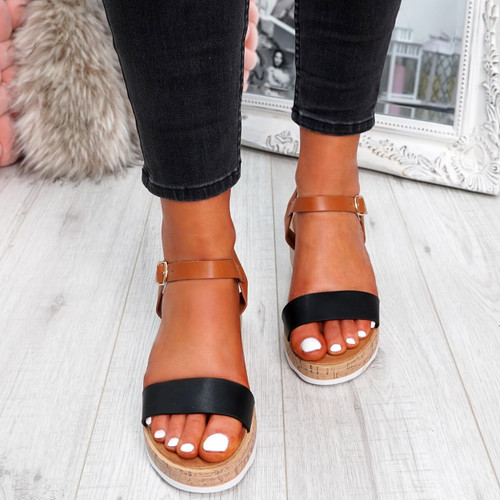womens ladies ankle strap peep toe sandals platform women shoes size uk 3 4 5 6 7 8