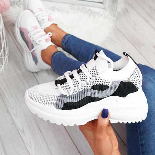womens ladies lace up sport party chunky sole sneakers trainers casual shoes size uk 3 4 5 6 7 8
