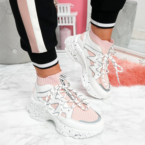 womens ladies lace up sock sneakers party chunky sole trainers women sports shoes size uk 3 4 5 6 7 8