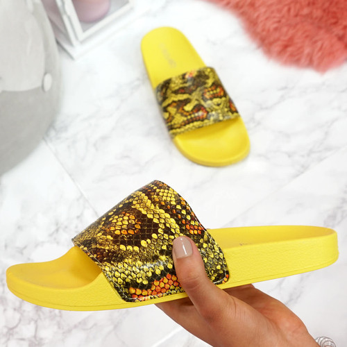 womens ladies slip on snake pattern sliders flat sandals women comfy party shoes size uk 3 4 5 6 7 8