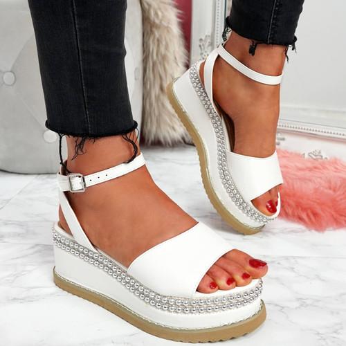 Egga White Flatform Sandals