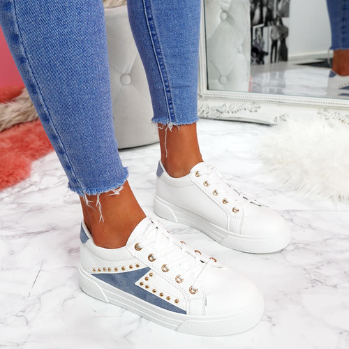 womens ladies lace up party plimsolls lace up sneakers trainers shoes size uk 3 4 5 6 7 8