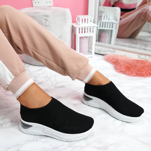 womens ladies slip on chunky sole trainers party sneakers women shoes size uk 3 4 5 6 7 8