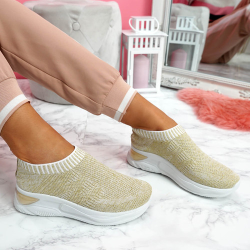 Jeffy Gold Mesh Sneakers