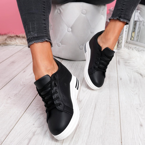 Misma Black Wedge Trainers