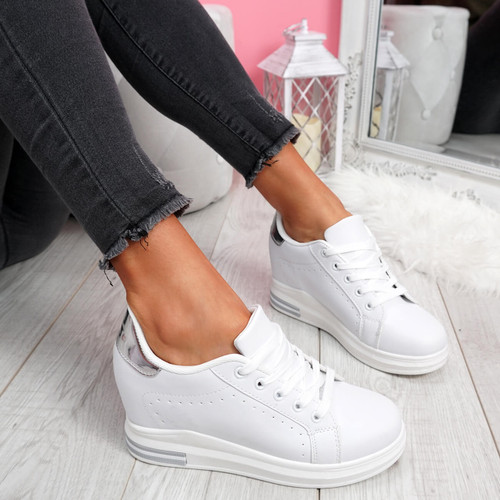 Misma Grey Silver Wedge Trainers