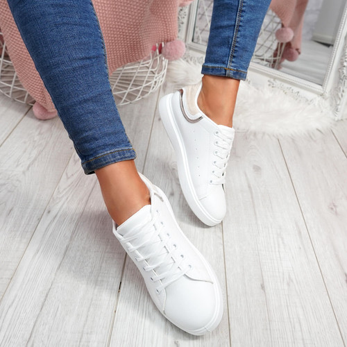 Menika Beige Lace Up Trainers