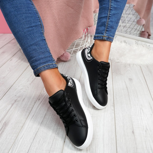 Menika Black Lace Up Trainers