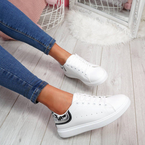 Menika White Snake Lace Up Trainers