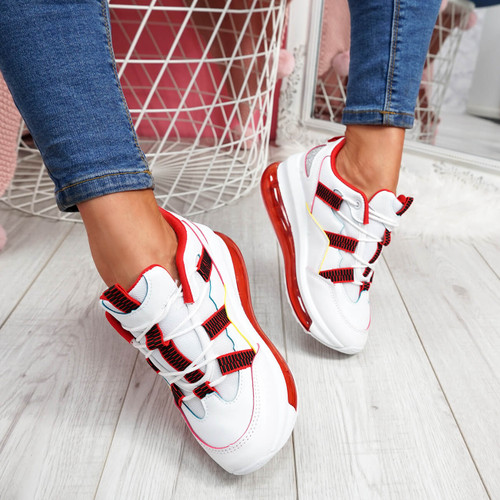 Hessa Red Chunky Trainers