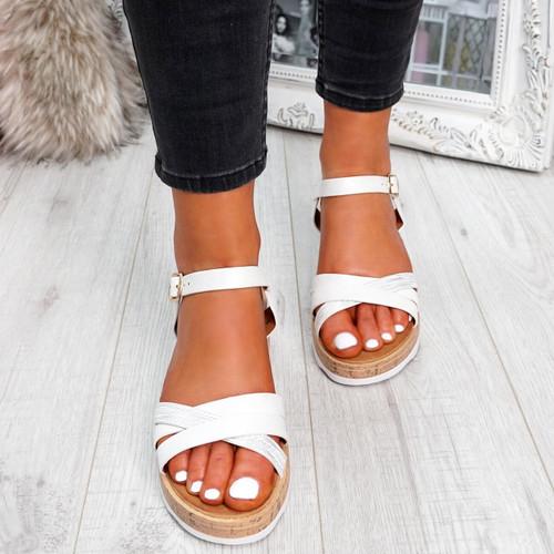 Gellya White Wedge Sandals