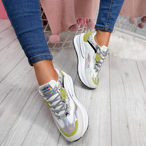 womens ladies lace up snake skin platform trainers sneakers shoes size uk 3 4 5 6 7 8