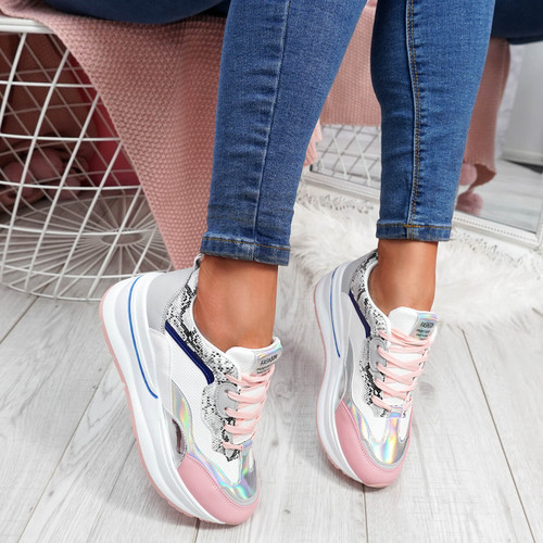 Silla Pink Chunky Trainers