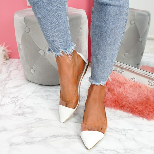 Gebba White Pointed Toe Ballerinas