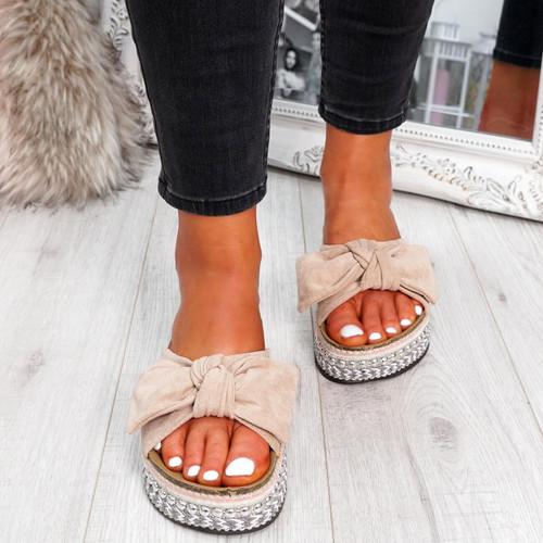 Motty Beige Flatform Sandals