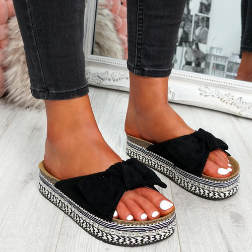 Motty Black Flatform Sandals