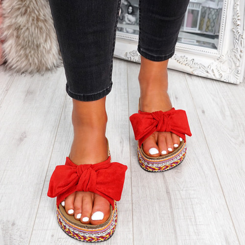 womens ladies bow sliders party flat sandals casual faux suede flatforms shoes size uk 3 4 5 6 7 8